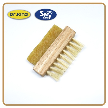 Wood handle rubber PP hairs nubuck double-sided mini suede shoe brush